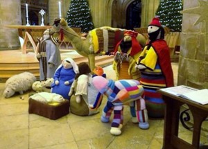 Derek in the nativity scene at Gloucester Cathedral