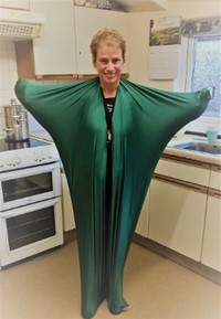 Karen Lutz tries on a sensory suit