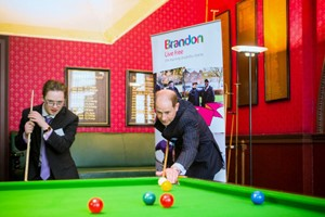 Alex plays snooker with HRH Prince Edward